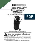 Central Pneumatic 2.5hp 21 Gallon 125 Psi Air Compressor Users Manua