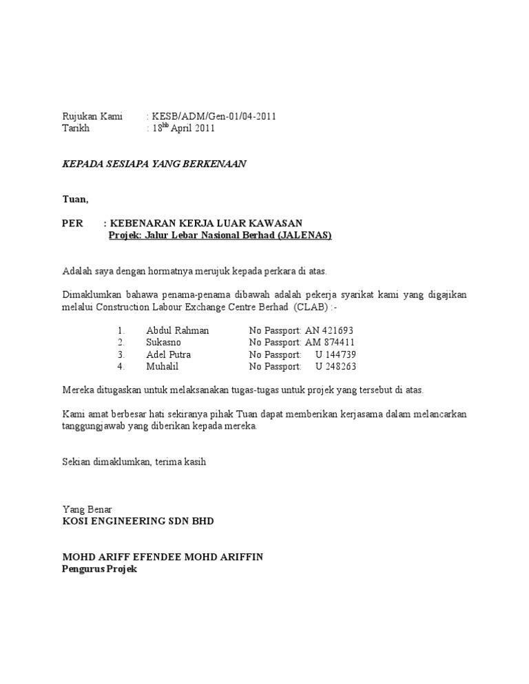 Format Surat Rasmi Kepada Sesiapa Yang Berkenaan Surat R