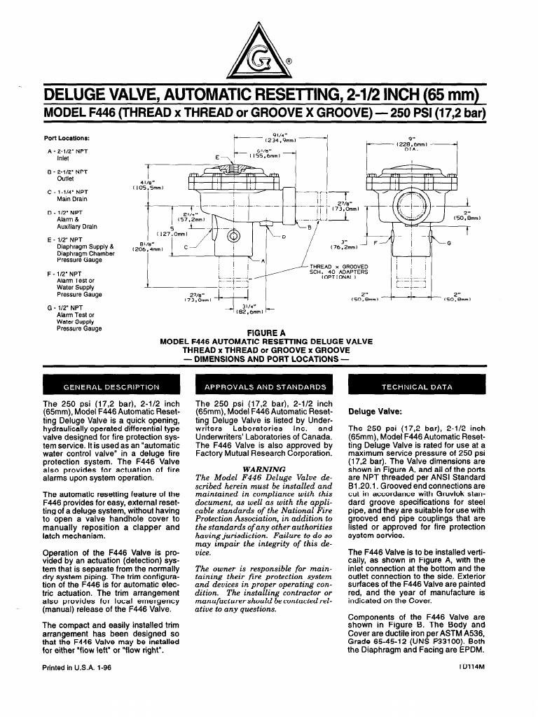 Grinnell Deluge Valve Diagram Wiring Diagrams For Dummies Pipedeluge Automatic Sprinkler On Solenoid Model F446 Leak Rh Scribd Com System Fire Protection