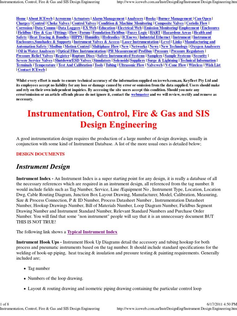 Instrumentation hook up standard