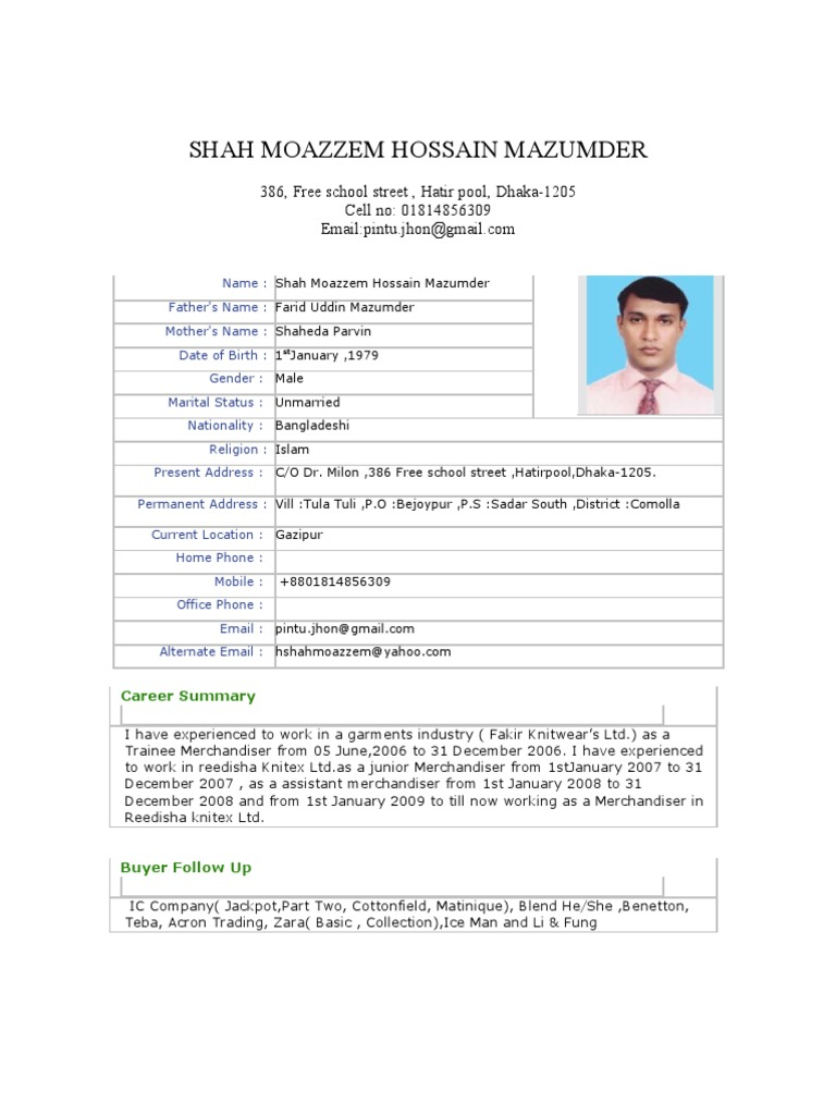 Resume for Shah Moazzem Hossain Mazumder | Bangladesh | Master Of