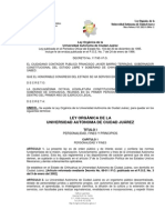LEY ORGÁNICA DE LA UNIVERSIDAD AUTÓNOMA DE CIUDAD JUÁREZ