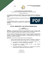 LEY DE TRANSPORTE Y SUS VÍAS DE COMUNICACIÓN