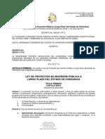 LEY DE PROYECTOS DE INVERSIÓN PÚBLICA A LARGO PLAZO DEL ESTADO DE CHIHUAHUA