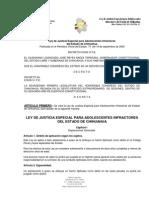 LEY DE JUSTICIA ESPECIAL PARA ADOLESCENTES INFRACTORES DEL ESTADO DE CHIHUAHUA