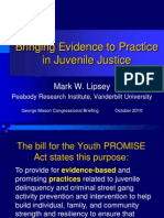 Lipsey Bringing Evidence to Practice in Juvenile Justice