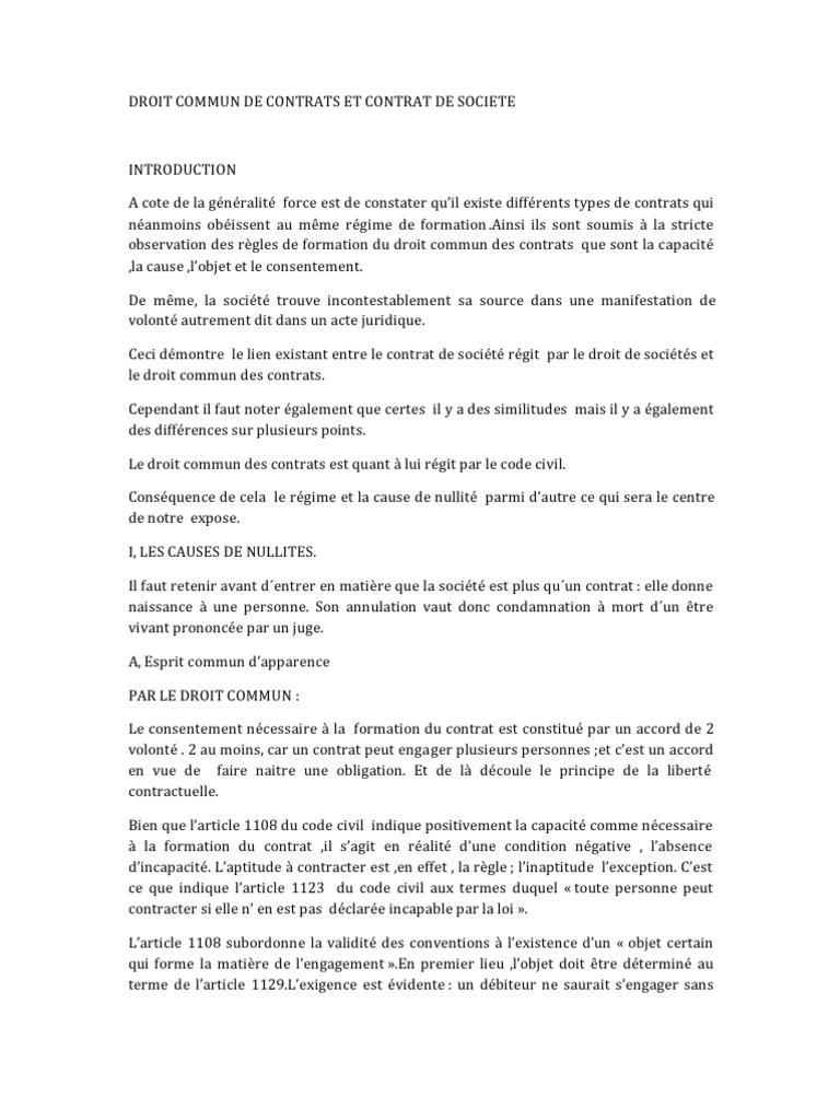Droit Commun De Contrats Et Contrat De Societe Nullite Du Contrat En Droit Civil Francais Retroactivite Essai Gratuit De 30 Jours Scribd