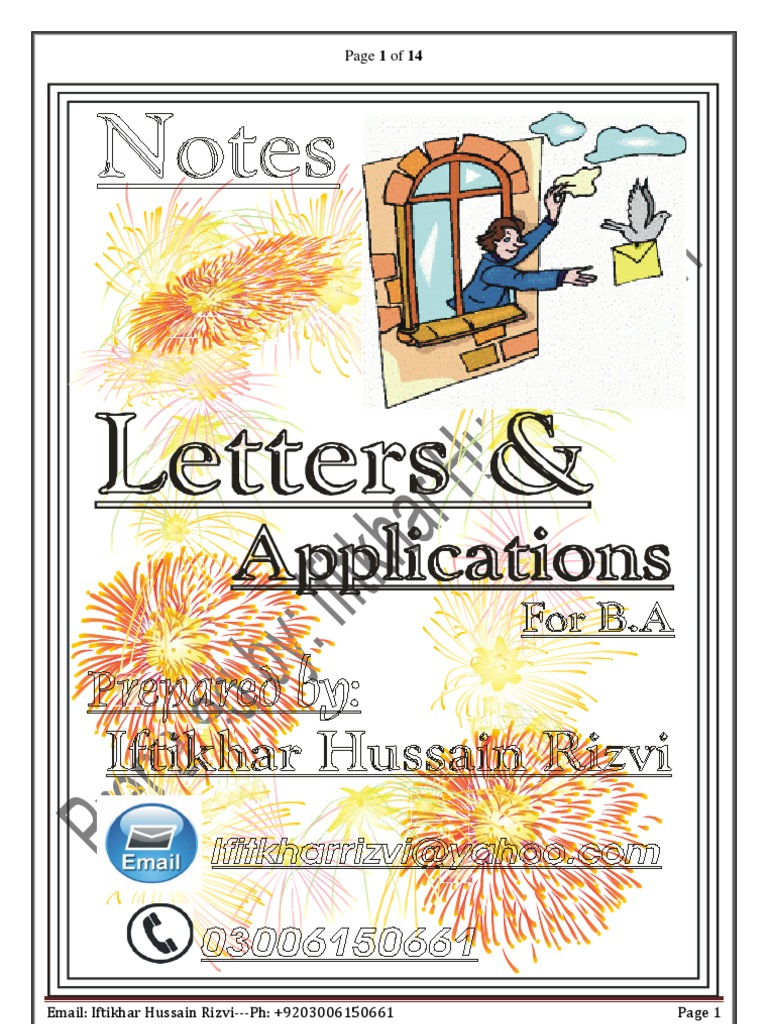 Letters and application for B A english language paper B