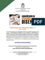INFORMACIÓN ESPECIALIZACIÓN PEDAGOGÍA DEL DISEÑO 2012-1