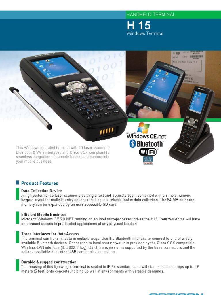 Especificações Symbol H15 | Electrical Connector | Image Scanner