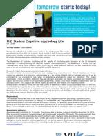 VU Amsterdam-1.2011.00056 - PhD Student Cognitive Psychology