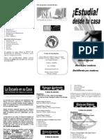 Publicación Escuela en tu casa, trifoliar