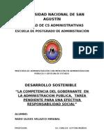 """""""LA COMPETENCIA DEL GOBERNANTE  EN LA ADMINISTRACION PUBLICA,  TAREA PENDIENTE PARA UNA EFECTIVA RESPONSABILIDAD SOCIAL"""""""