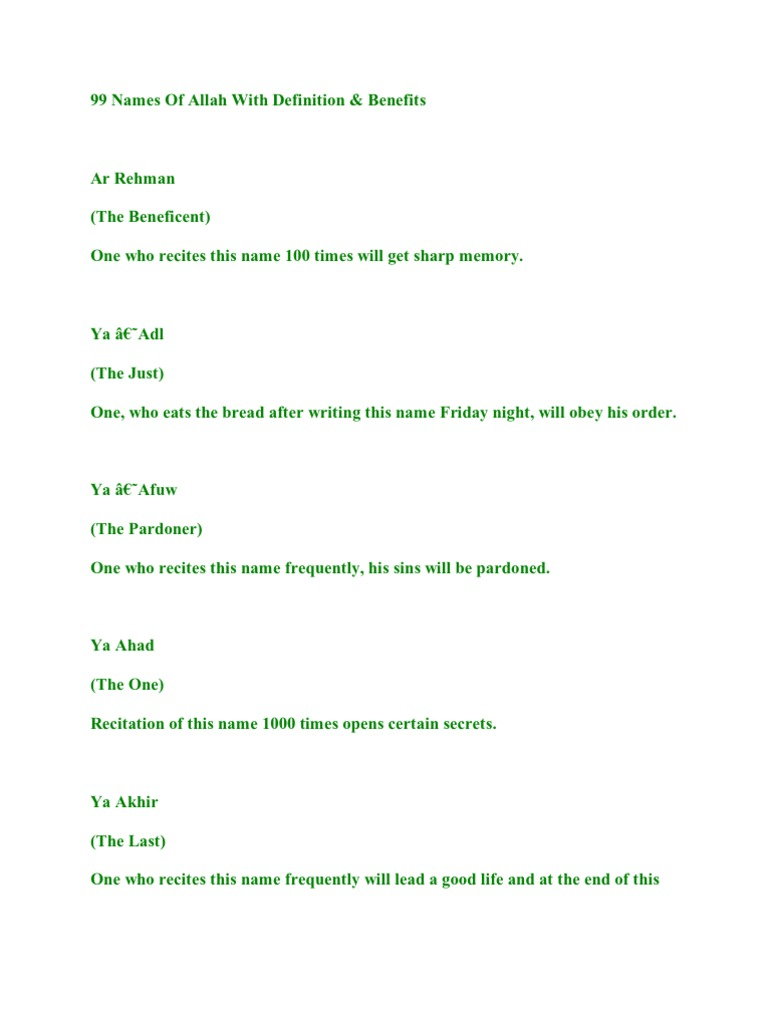 99 Names of Allah With Definition | Religious Behaviour And