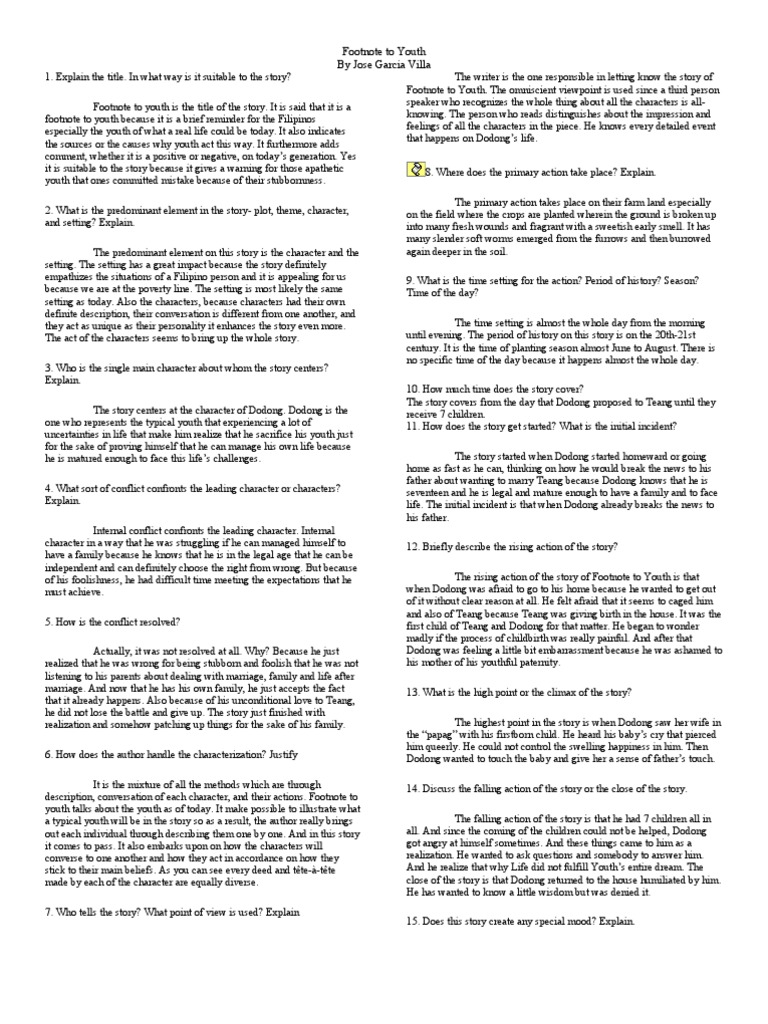 setting of footnote to youth A footnote to youth is a very wise deeply felt work of great sadness set in rural philippines in the 1930s many years are covered in the five pages of footnote to youth years have gone by and the once beautiful girl has lost all her looks from hard work and too many children.