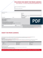 Credit for Prior Learning Cost Reduction Professional Qualifications Application Form