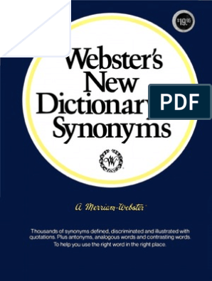 Webster S New Dictionary Of Synonyms 1984 Dictionary Linguistics