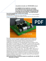 Circuito amplificador de potência de áudio com TDA7294 80W