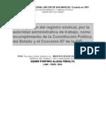 La Obligación del registro sindical, por la autoridad administrativa de trabajo