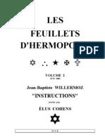 Jean Baptiste Willermoz Instructions Pour Les Elus Cohens