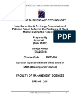 How Securities & Exchange Commission of Pakistan Faced & Solved the Problems of Stock Market During the Recession