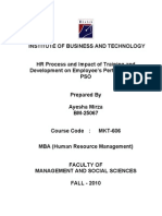 HR Process and Impact of Training and Development on Employee's Performance at PSO