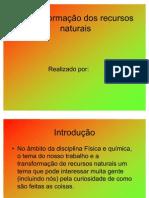 A transformação dos recursos naturais