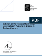 Statement- Psycho Metric Evidence