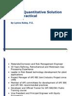 RBI a Quantitative Soulution Made Practical Lynne Kaley