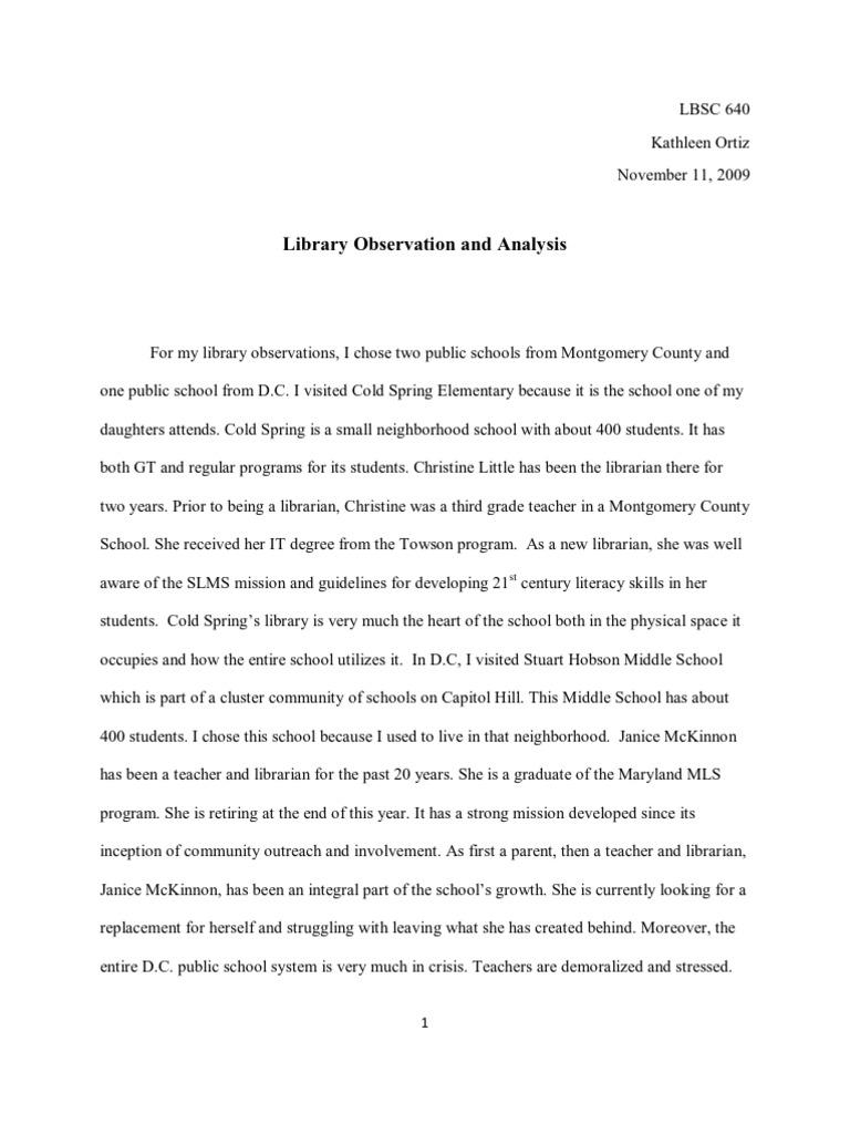 teacher observation essay