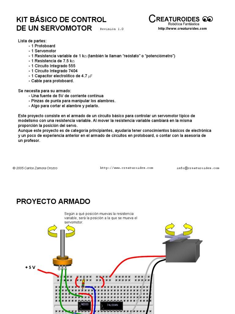 Circuito Integrado 7404 : Circuito servomotor