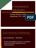 Local Anesthetics for Endodo