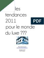 Tendances Luxe 2011 Rapport Dec 2010 Observatoire Du Luxe Rene Duringer