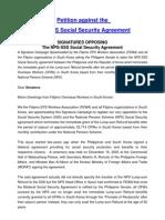 Petition Letter Against NPS-SSS Agreement