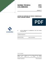 NTC 1104 Listado de Especies de Peces Comerciales para Consumo Humano