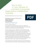 Open Letter to John Wilkinson re proposed mega quarry in Melancthon Township