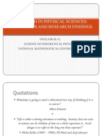 Research in Physical Sciences