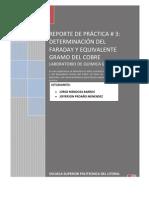 REPORTE DETERMINACIÓN DEL FARADAY Y EQUIVALENTE GRAMO DEL COBRE