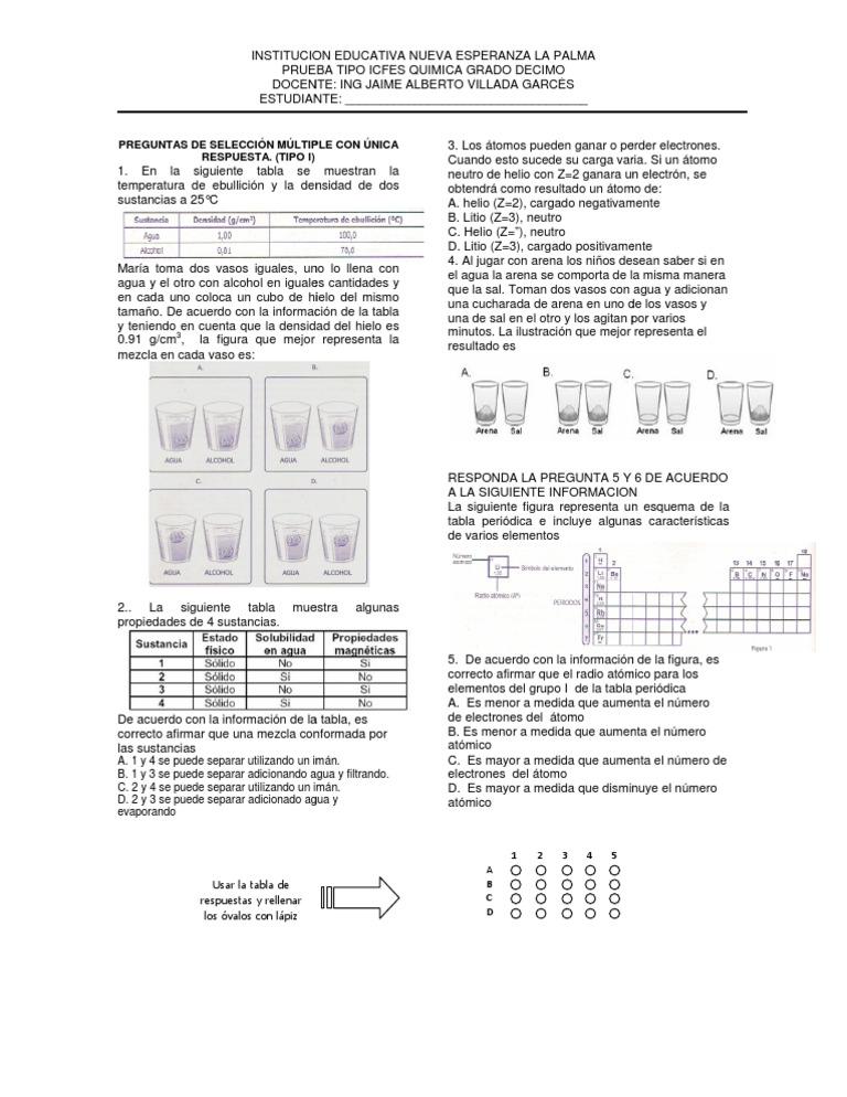 prueba tipo icfes quimica grado 10 ienelap - Tabla Periodica De Los Elementos Densidad
