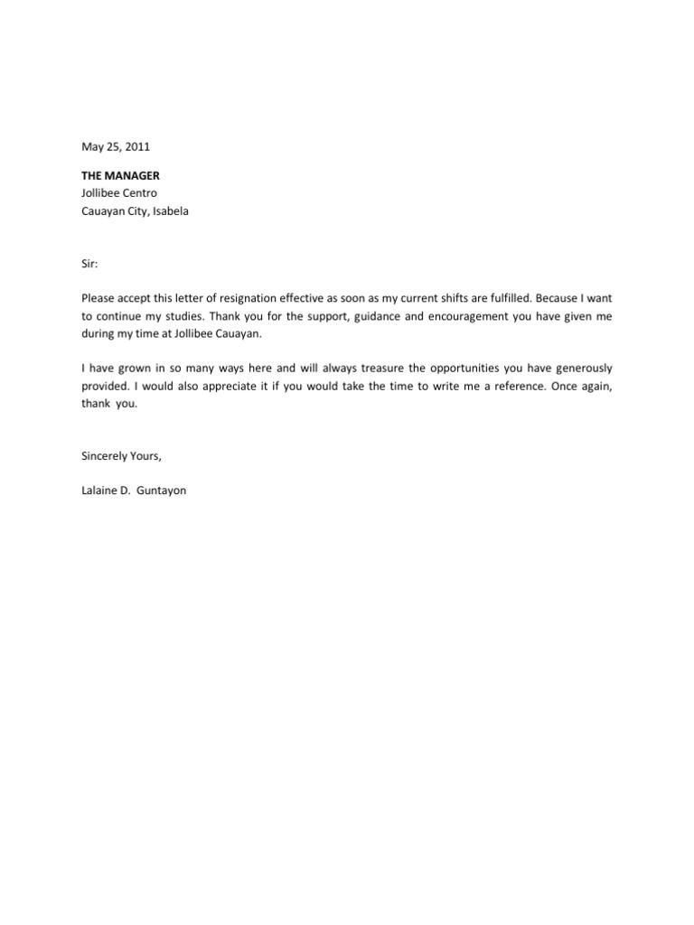 sample application letter in jollibee