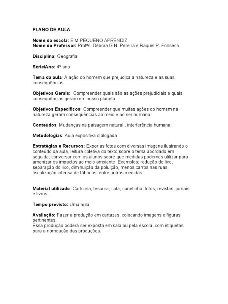 Excepcional PLANO DE AULA GEOGRAFIA DÉBORA E RAQUEL. YY55