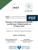 Mémoire développement durable hôpitaux publics. Version 1