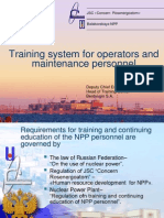 Training system for nuclear operators and maintenance personnel