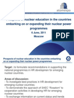 Prospects of nuclear education in the countries embarking on or expanding their nuclear power programmes