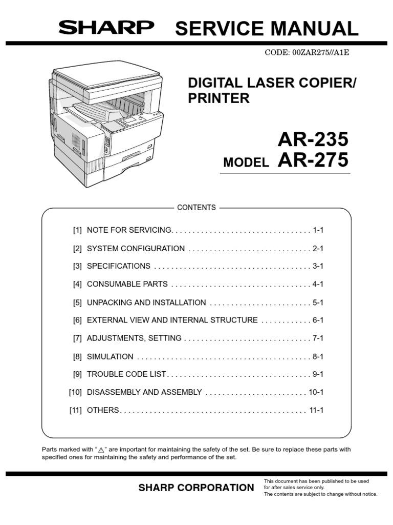 sharp ar 235 275 sm image scanner fax rh scribd com NexusLink 5631 Manual Eastwood 5631