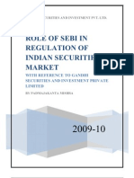 Role of SEBI in Regulation of Indian Capital Market