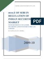 Role of SEBI in Regulation of Indian Capital Market