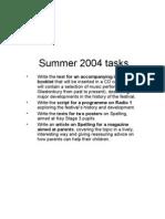 Summer 2004 tasks