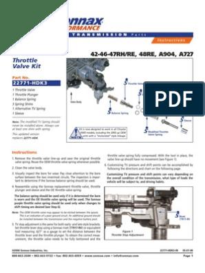 Throttle Valve Kit: 42-46-47RH/RE, 48RE, A904, A727