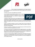 Communication sur le bilan de la mobilisation du 20 juin 2011 dans les centres d'appels